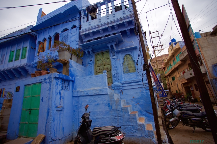 Blue haveli with scooters-wm